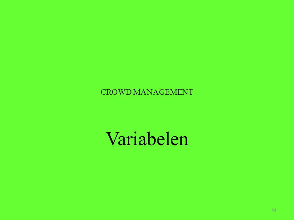 CROWD MANAGEMENT Variabelen 64