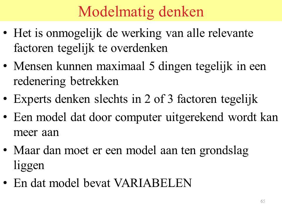 Modelmatig denken Het is onmogelijk de werking van alle relevante factoren tegelijk te overdenken.