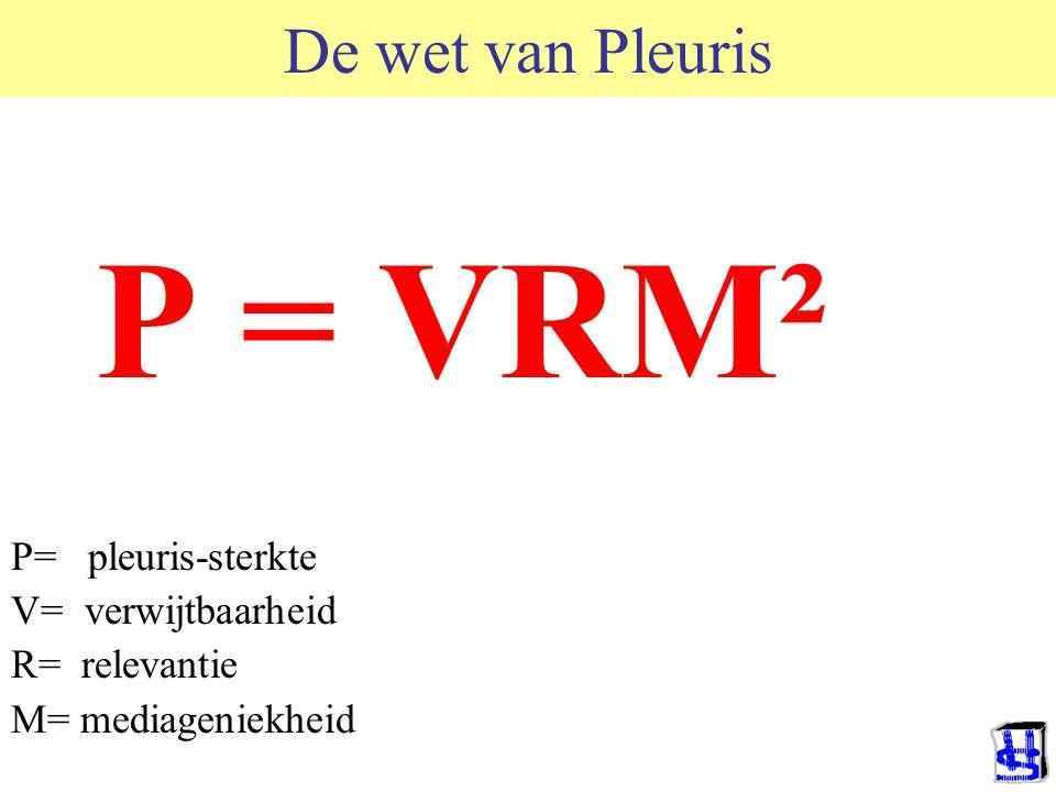P = VRM² De wet van Pleuris P= pleuris-sterkte V= verwijtbaarheid
