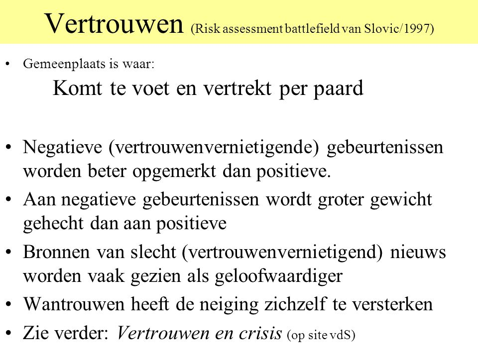 Vertrouwen (Risk assessment battlefield van Slovic/1997)