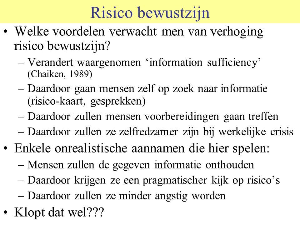 Risico bewustzijn Welke voordelen verwacht men van verhoging risico bewustzijn Verandert waargenomen 'information sufficiency' (Chaiken, 1989)