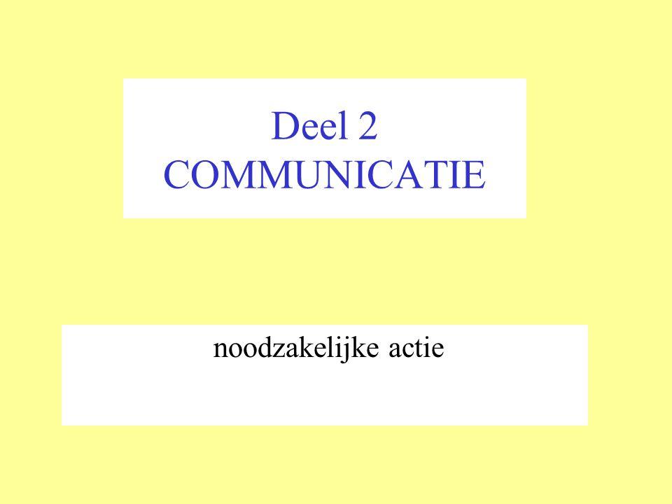 Deel 2 COMMUNICATIE noodzakelijke actie