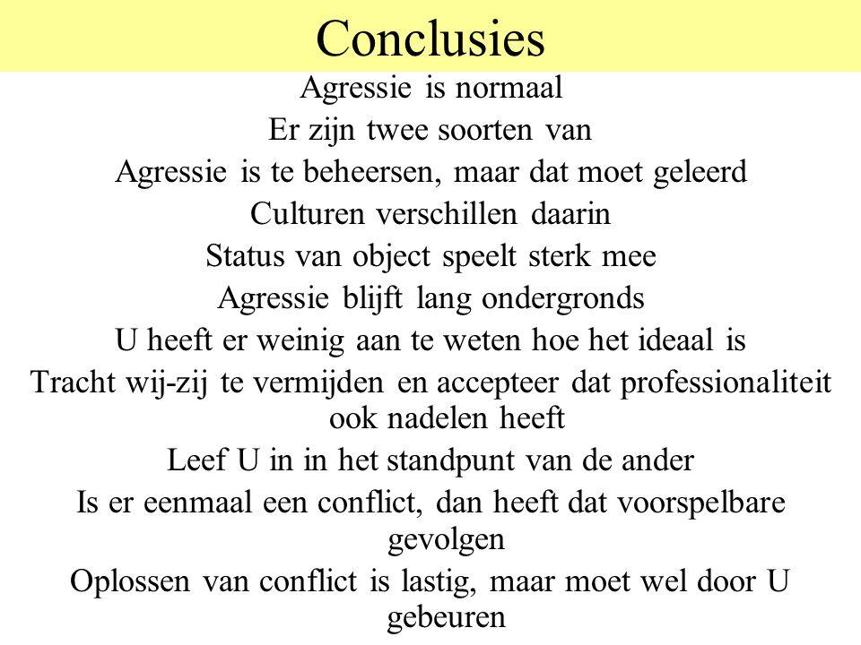 Conclusies Agressie is normaal Er zijn twee soorten van