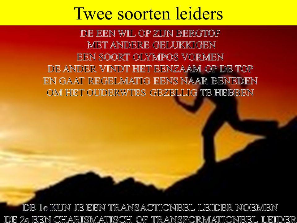 Twee soorten leiders DE EEN WIL OP ZIJN BERGTOP MET ANDERE GELUKKIGEN