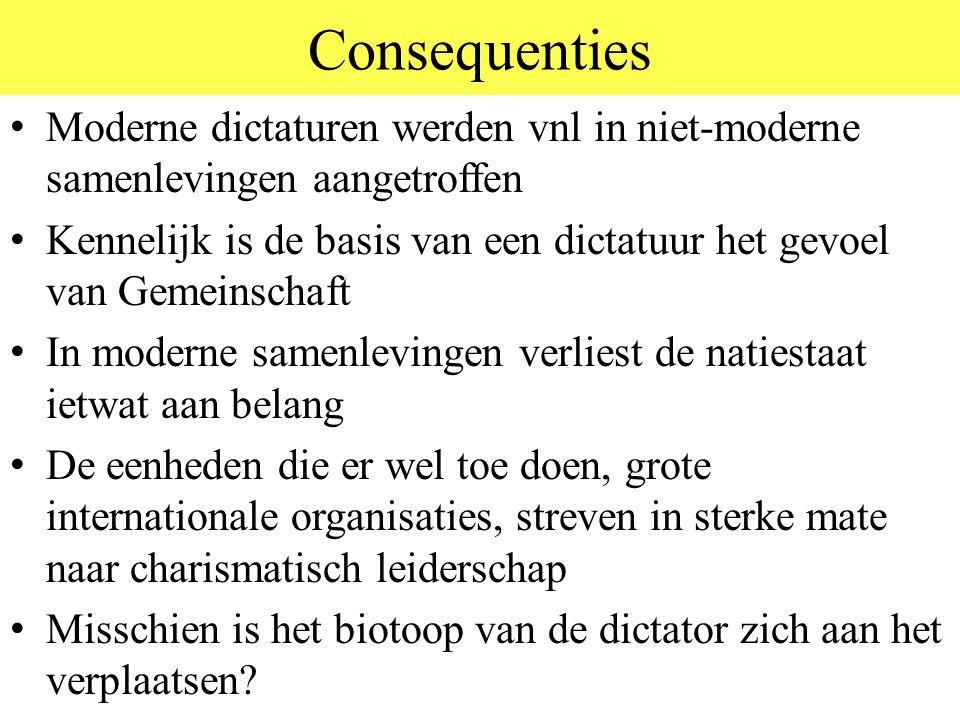 Consequenties Moderne dictaturen werden vnl in niet-moderne samenlevingen aangetroffen.