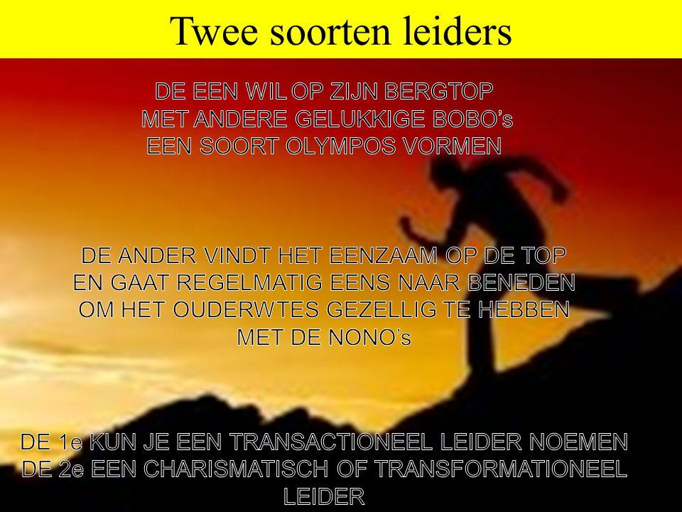 Twee soorten leiders DE EEN WIL OP ZIJN BERGTOP