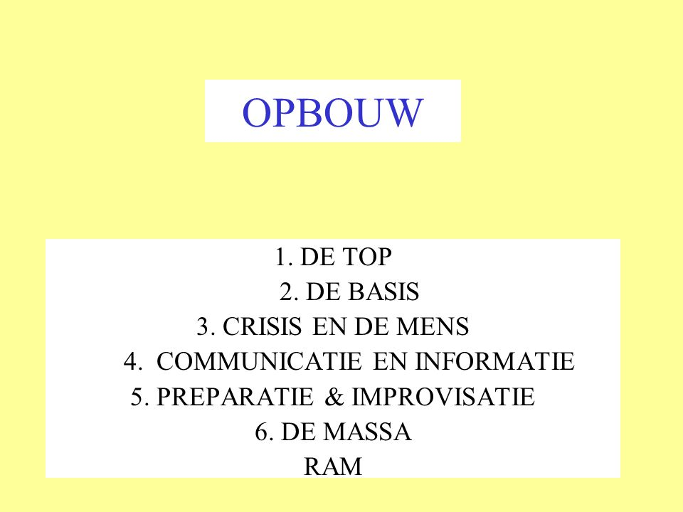 OPBOUW 1. DE TOP 2. DE BASIS 3. CRISIS EN DE MENS
