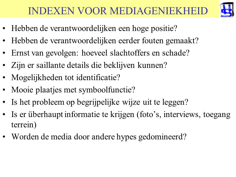 INDEXEN VOOR MEDIAGENIEKHEID