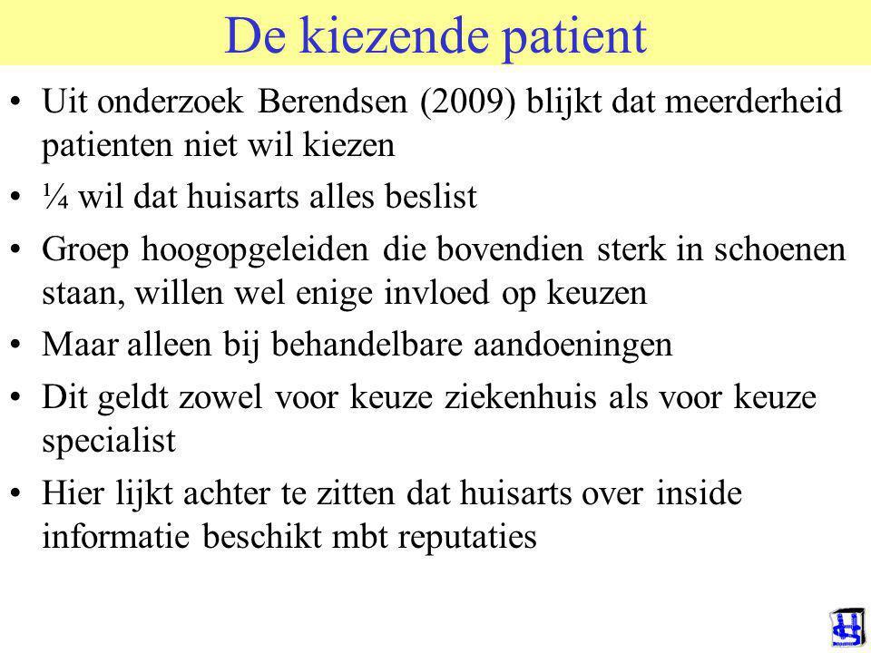 De kiezende patient © 2009 JP van de Sande RuG. Uit onderzoek Berendsen (2009) blijkt dat meerderheid patienten niet wil kiezen.