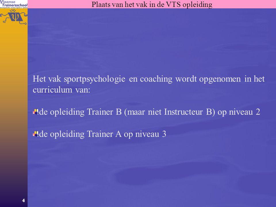 Plaats van het vak in de VTS opleiding