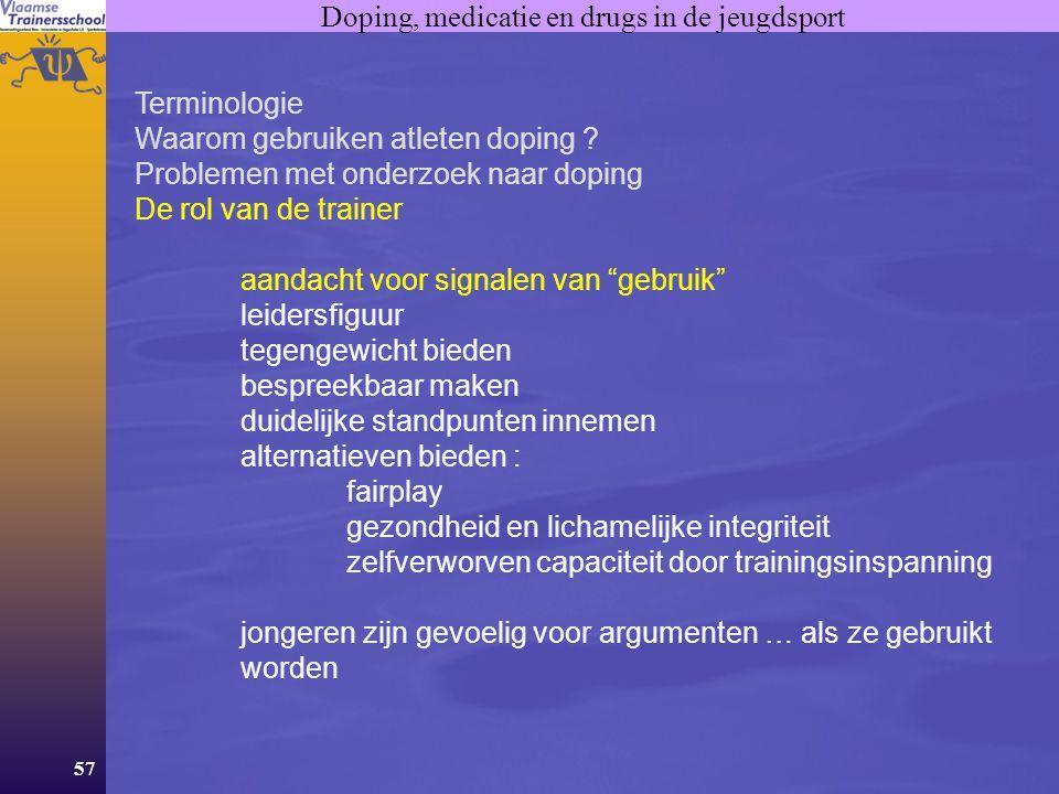 Doping, medicatie en drugs in de jeugdsport