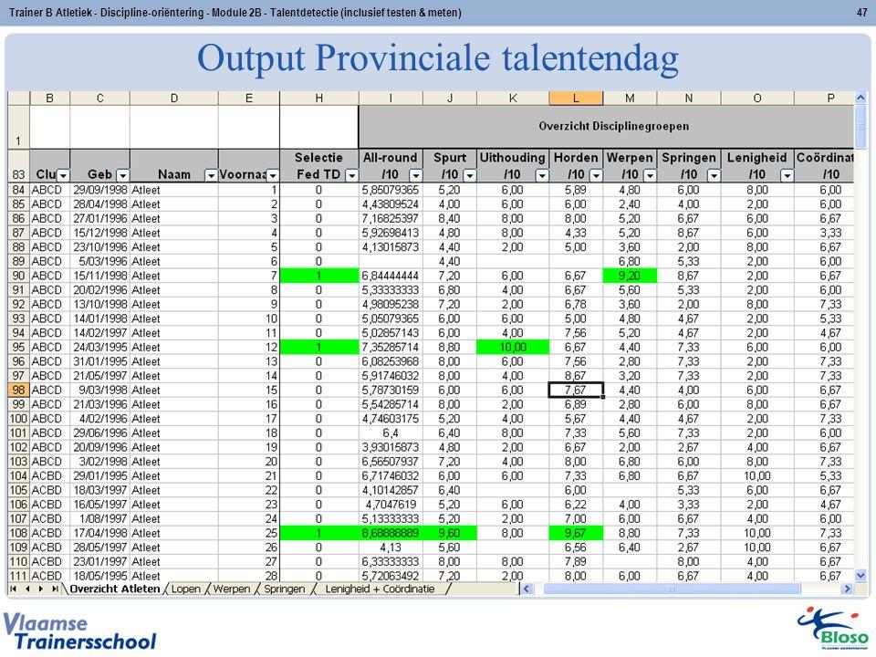 Output Provinciale talentendag