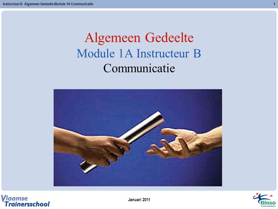 Algemeen Gedeelte Module 1A Instructeur B Communicatie
