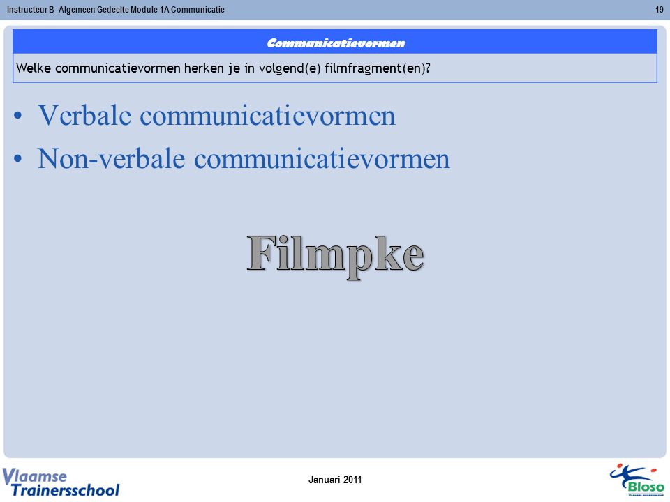 Filmpke Verbale communicatievormen Non-verbale communicatievormen