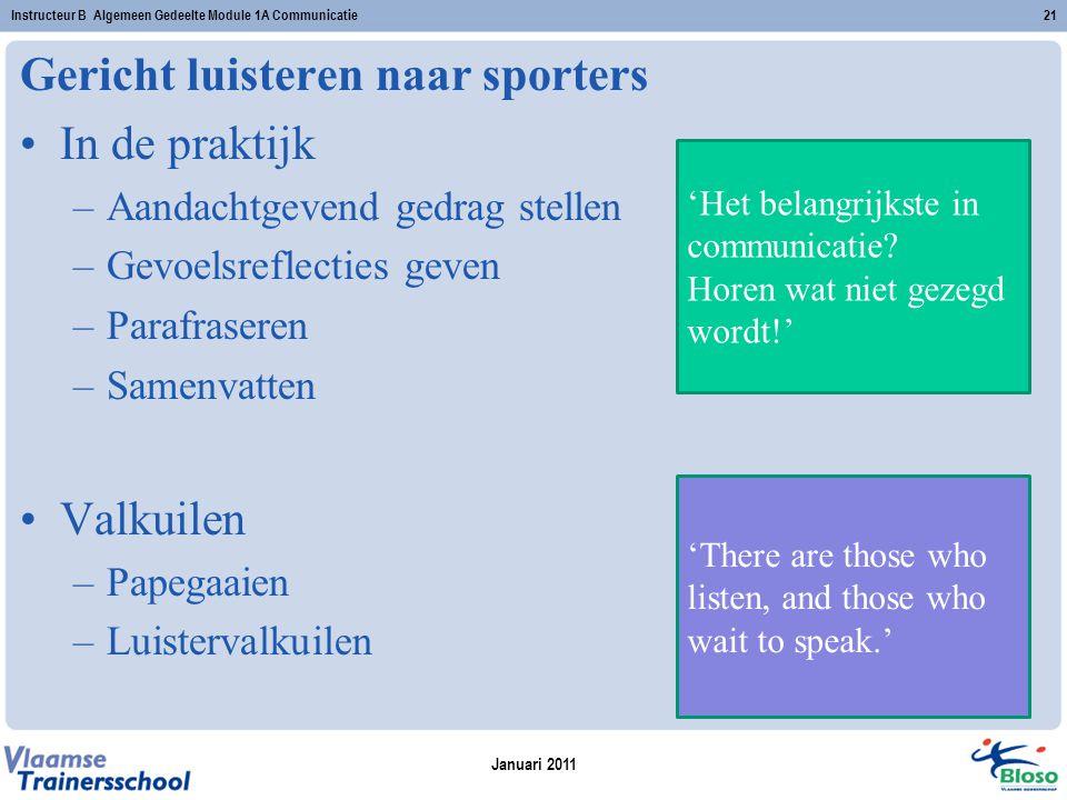 Gericht luisteren naar sporters In de praktijk