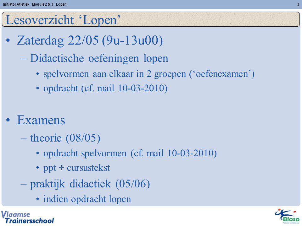 Lesoverzicht 'Lopen' Zaterdag 22/05 (9u-13u00) Examens