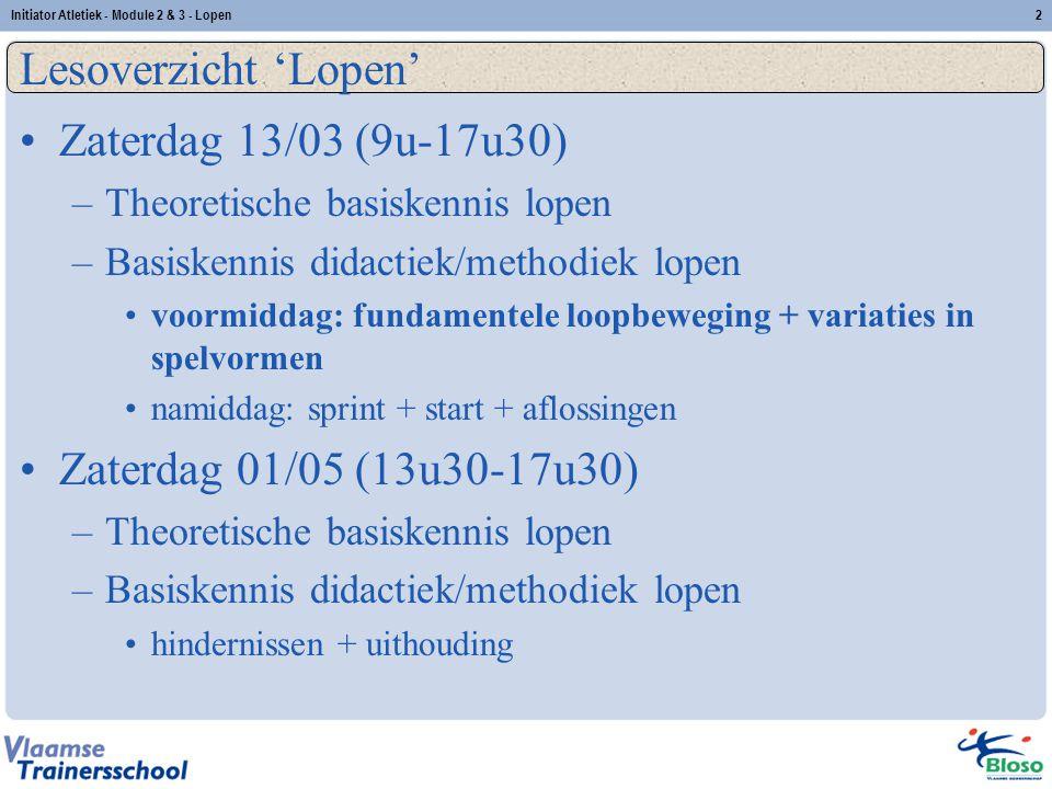Lesoverzicht 'Lopen' Zaterdag 13/03 (9u-17u30)