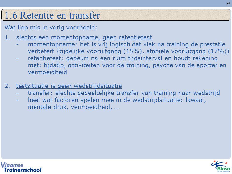 1.6 Retentie en transfer Wat liep mis in vorig voorbeeld: