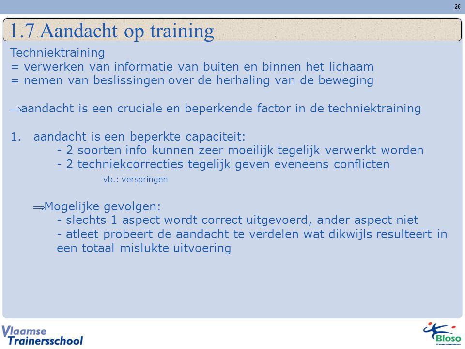 1.7 Aandacht op training Techniektraining