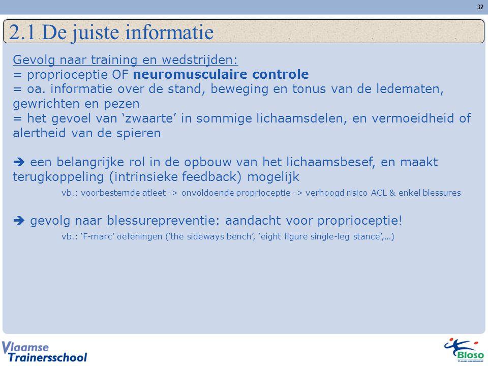 2.1 De juiste informatie Gevolg naar training en wedstrijden: = proprioceptie OF neuromusculaire controle.