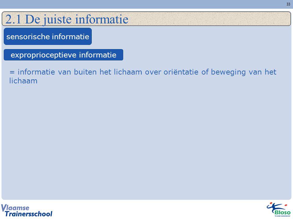 2.1 De juiste informatie sensorische informatie