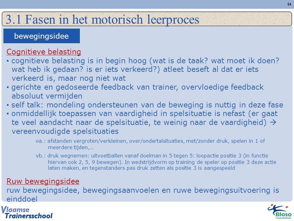 3.1 Fasen in het motorisch leerproces