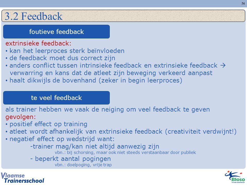 3.2 Feedback foutieve feedback extrinsieke feedback: