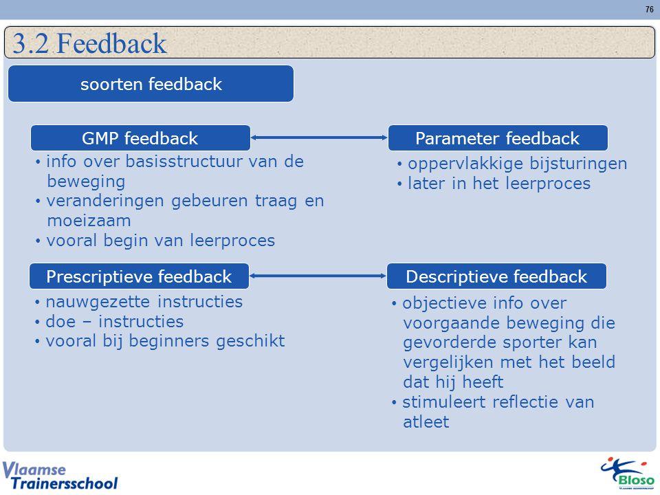 3.2 Feedback soorten feedback GMP feedback Parameter feedback
