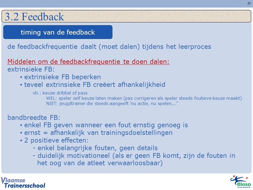 3.2 Feedback timing van de feedback