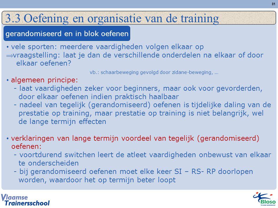 3.3 Oefening en organisatie van de training