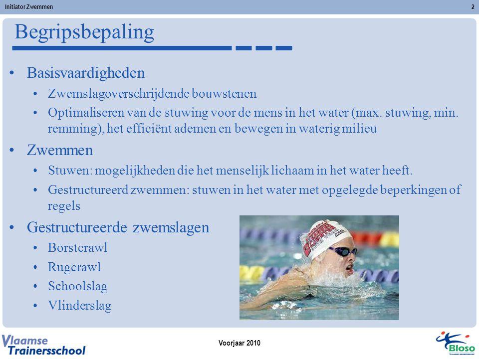 Begripsbepaling Basisvaardigheden Zwemmen Gestructureerde zwemslagen