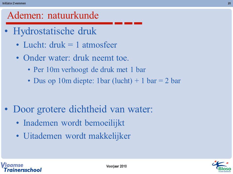 Door grotere dichtheid van water: