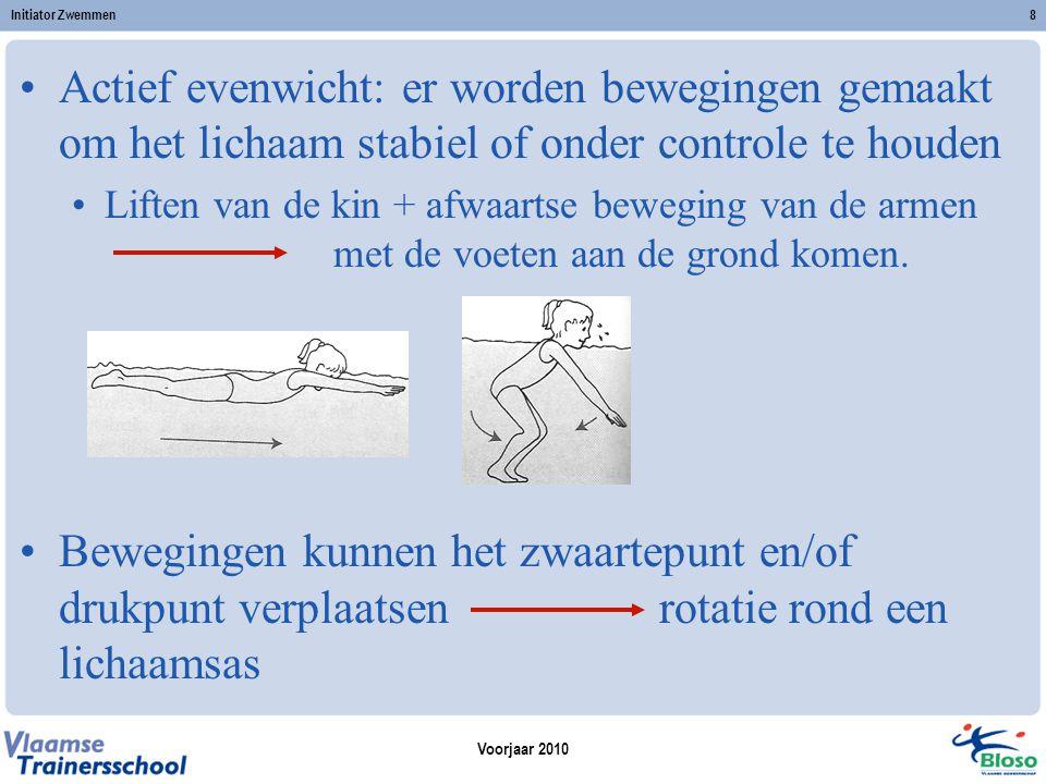 Initiator Zwemmen Actief evenwicht: er worden bewegingen gemaakt om het lichaam stabiel of onder controle te houden.