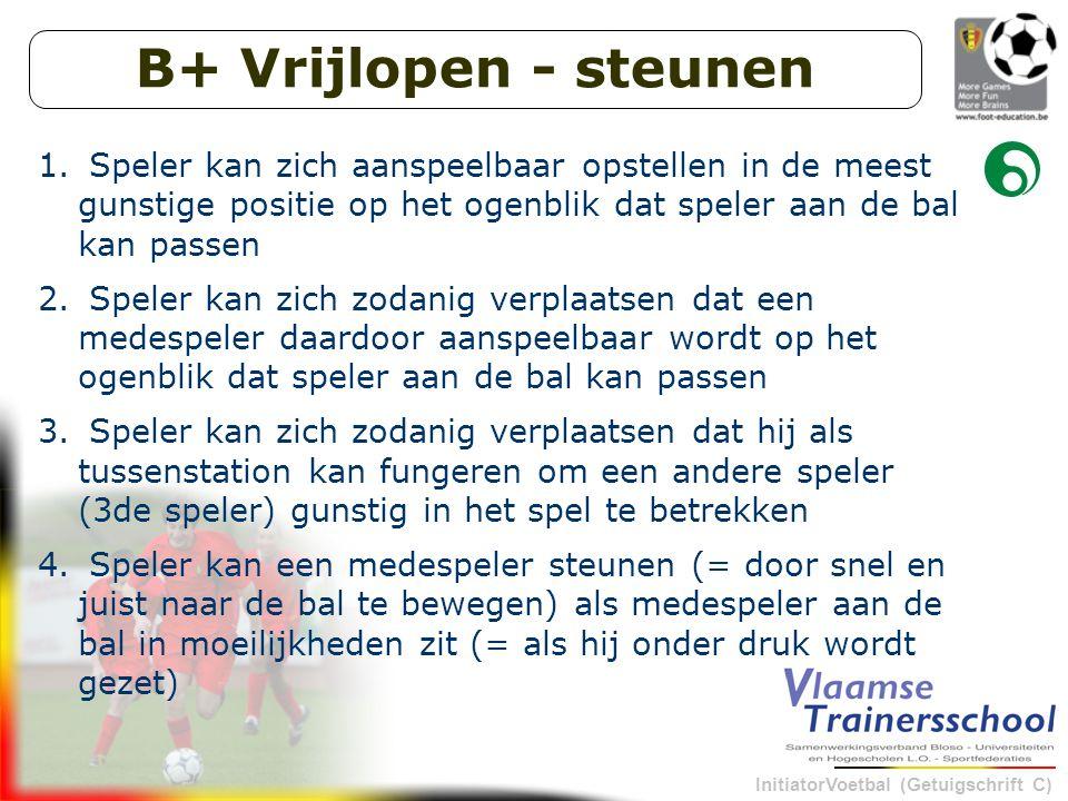 B+ Vrijlopen - steunen Speler kan zich aanspeelbaar opstellen in de meest gunstige positie op het ogenblik dat speler aan de bal kan passen.