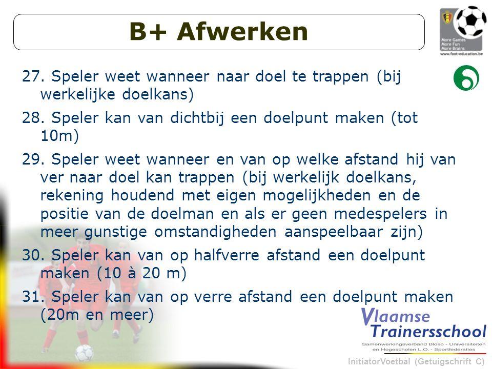 B+ Afwerken Speler weet wanneer naar doel te trappen (bij werkelijke doelkans) Speler kan van dichtbij een doelpunt maken (tot 10m)
