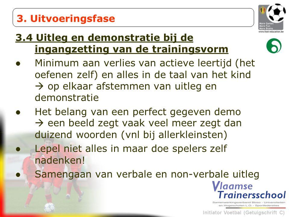 3. Uitvoeringsfase 3.4 Uitleg en demonstratie bij de ingangzetting van de trainingsvorm.