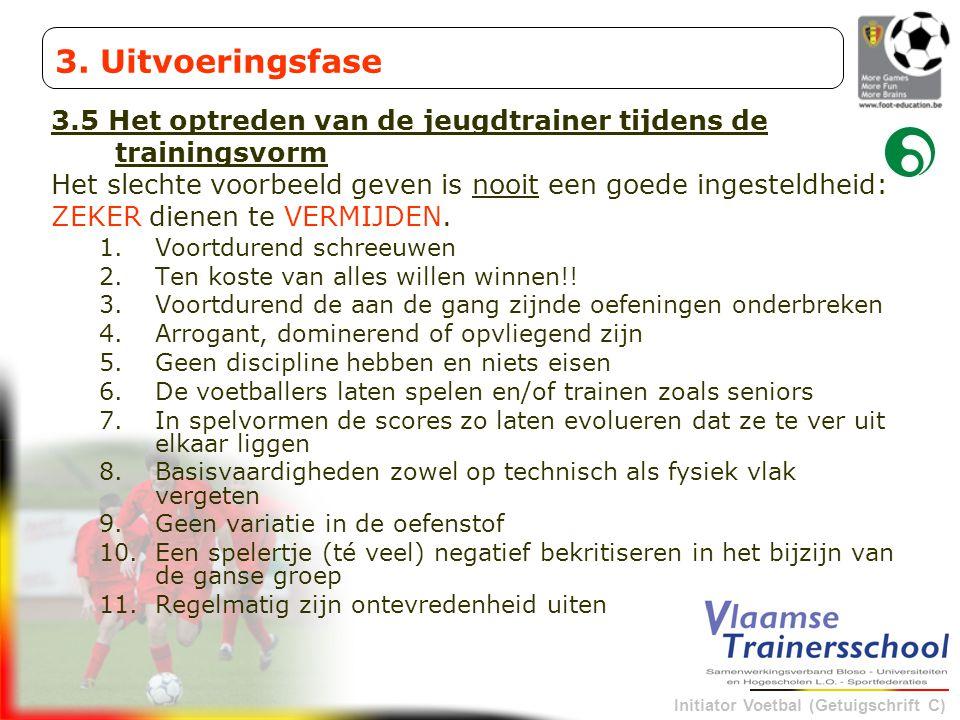 3. Uitvoeringsfase 3.5 Het optreden van de jeugdtrainer tijdens de trainingsvorm. Het slechte voorbeeld geven is nooit een goede ingesteldheid: