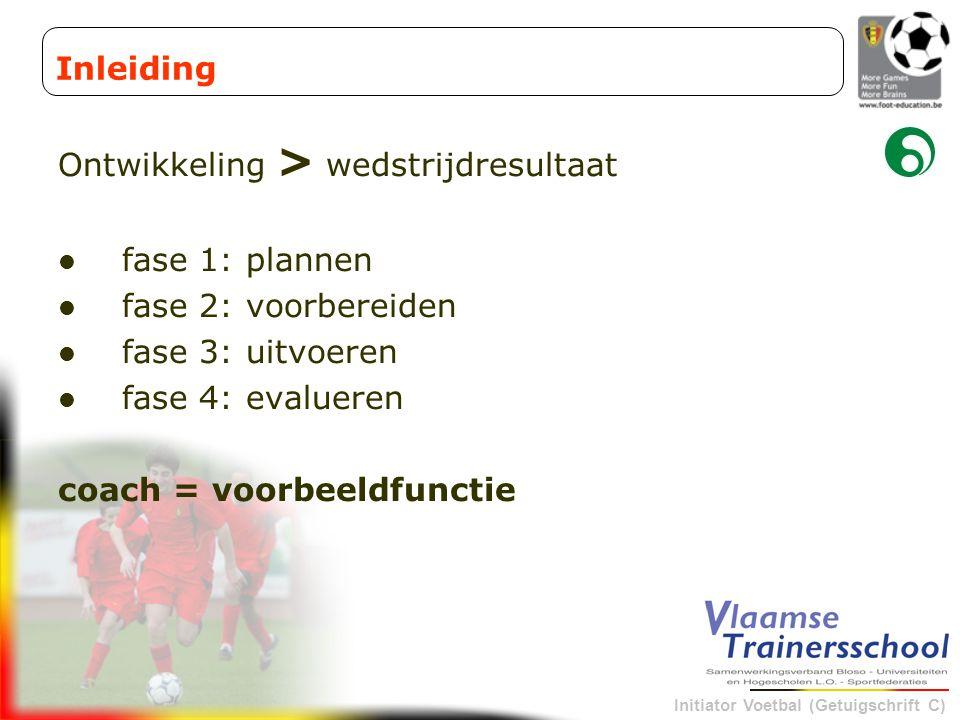Inleiding Ontwikkeling > wedstrijdresultaat. fase 1: plannen. fase 2: voorbereiden. fase 3: uitvoeren.