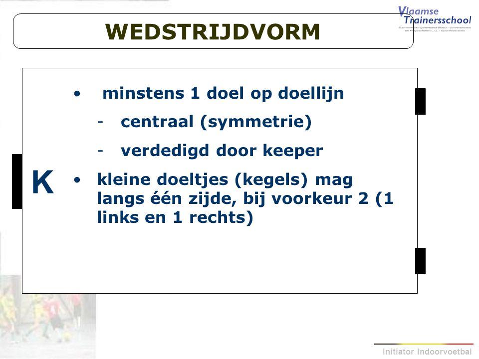 K WEDSTRIJDVORM minstens 1 doel op doellijn centraal (symmetrie)