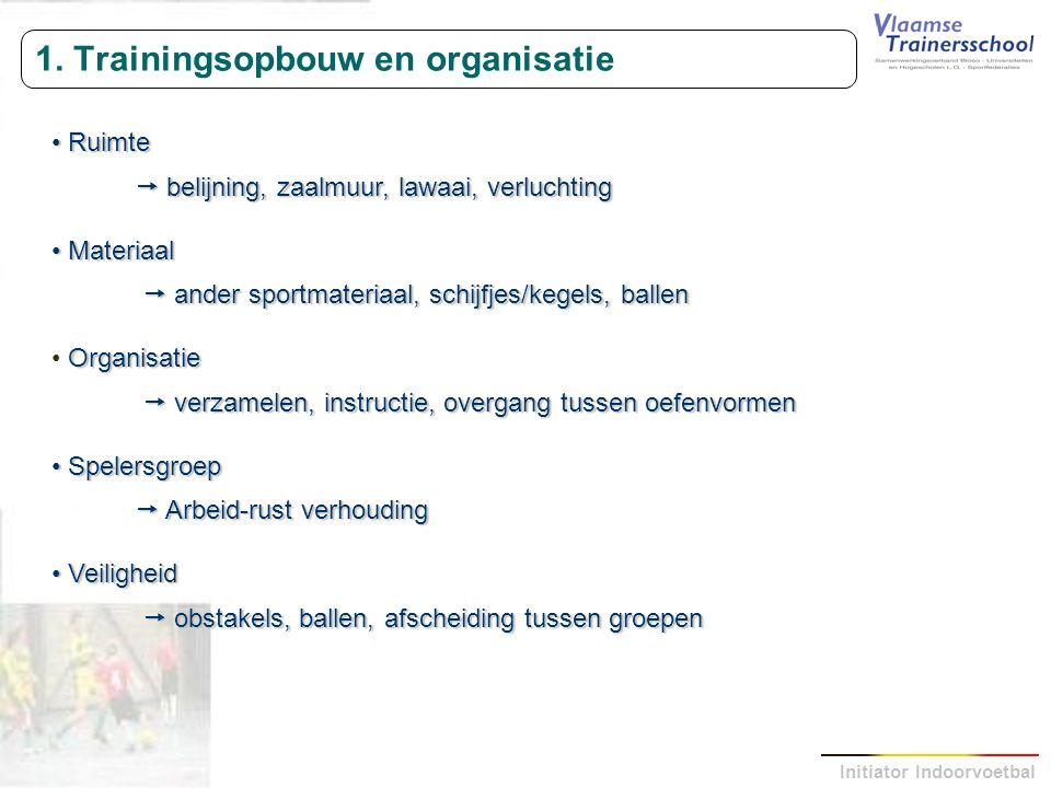 1. Trainingsopbouw en organisatie