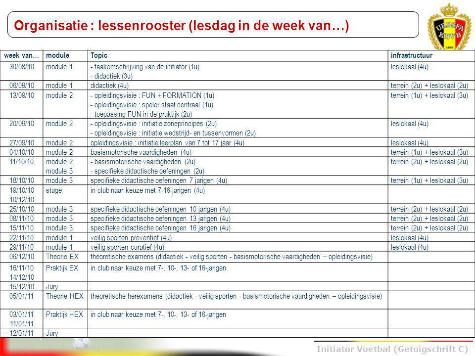 Organisatie : lessenrooster (lesdag in de week van…)