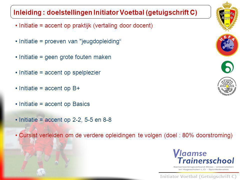 Inleiding : doelstellingen Initiator Voetbal (getuigschrift C)