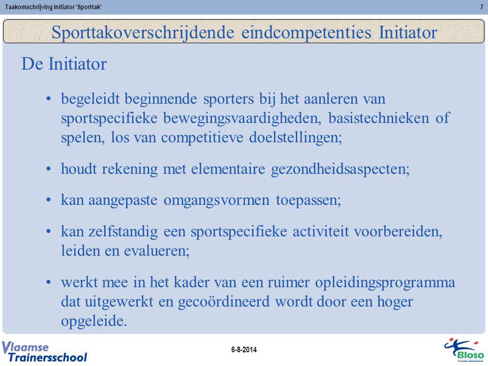 Sporttakoverschrijdende eindcompetenties Initiator