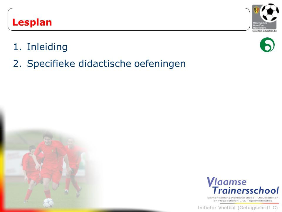 Lesplan Inleiding Specifieke didactische oefeningen