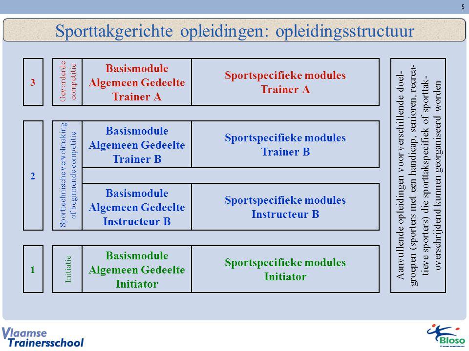 Sporttakgerichte opleidingen: opleidingsstructuur