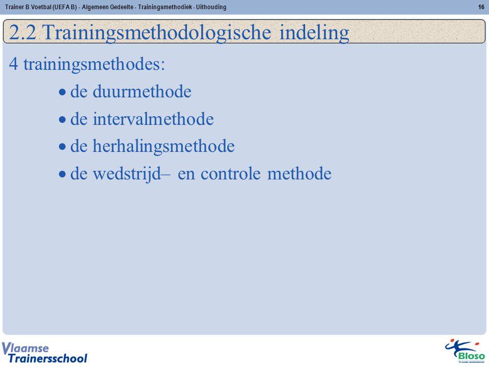 2.2 Trainingsmethodologische indeling