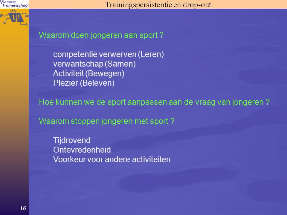 Trainingspersistentie en drop-out