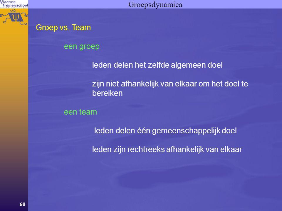 Groepsdynamica Groep vs. Team. een groep. leden delen het zelfde algemeen doel. zijn niet afhankelijk van elkaar om het doel te bereiken.