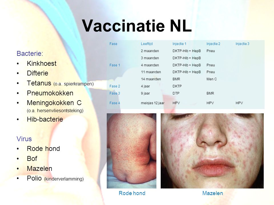 Vaccinatie NL Bacterie: Kinkhoest Difterie Tetanus (o.a. spierkrampen)