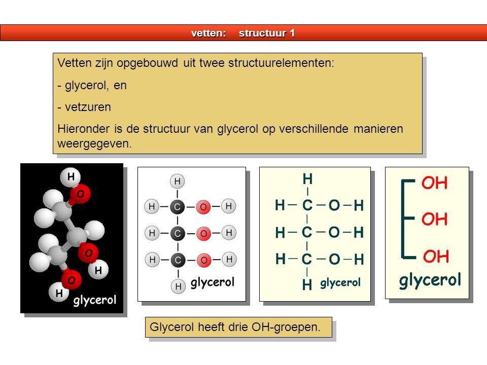 Vetten zijn opgebouwd uit twee structuurelementen: - glycerol, en